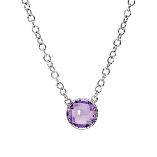 Sterling Silver & Round Genuine Amethyst 18 Inch Necklace w 2 Inch Extender