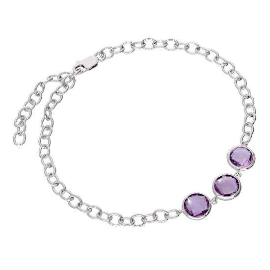 Sterling Silver Round Genuine Amethyst 9 - 10.5 Inch Ankle Bracelet