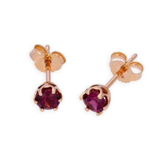 9ct Rose Gold & Rhodolite Genuine Gemstone Stud Earrings