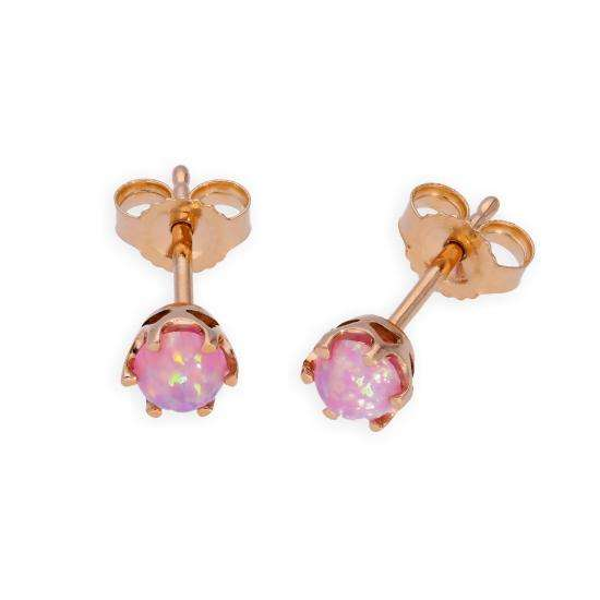 9ct Rose Gold & Pink Opal Genuine Gemstone Stud Earrings