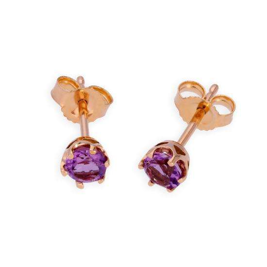 9ct Rose Gold & Amethyst Genuine Gemstone Stud Earrings