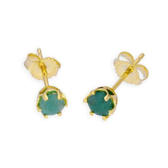 9ct Gold & Emerald Genuine Gemstone Stud Earrings