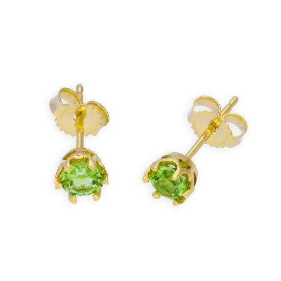 9ct Gold & Peridot Genuine Gemstone Stud Earrings