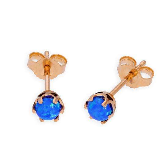 9ct Rose Gold & Blue Opal Genuine Gemstone Stud Earrings