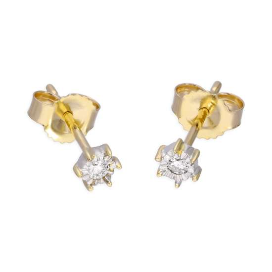 9ct Yellow Gold 0.05ct Diamond Illusion Set Round Solitaire Stud Earrings