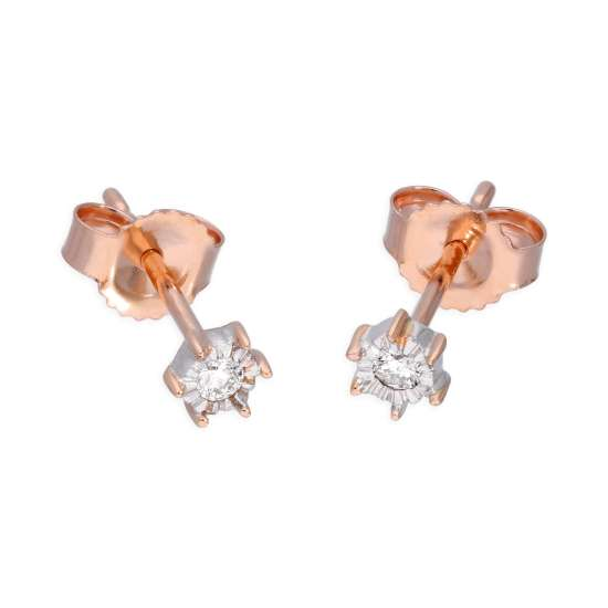 9ct Rose Gold 0.05ct Diamond Illusion Set Round Solitaire Stud Earrings