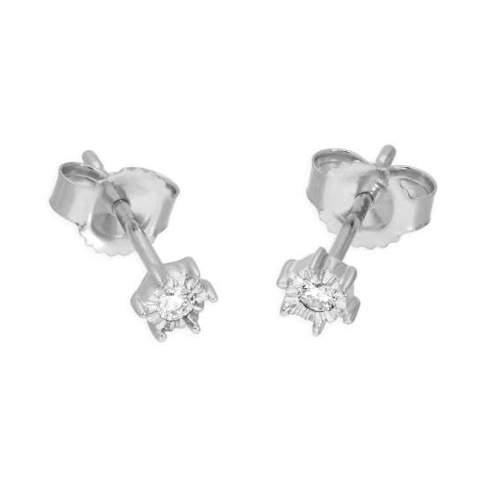 9ct White Gold 0.05ct Diamond Illusion Set Round Solitaire Stud Earrings