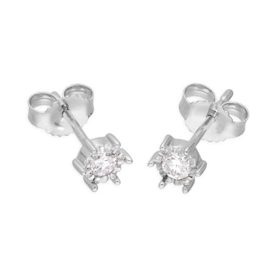 9ct White Gold 0.15ct Diamond Illusion Set Round Solitaire Stud Earrings