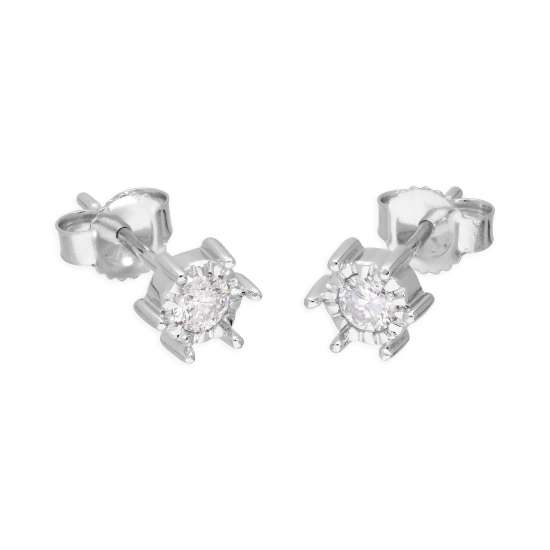 9ct White Gold 0.25ct Diamond Illusion Set Round Solitaire Stud Earrings