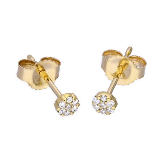 9ct Yellow Gold 0.056ct Diamond Cluster Stud Earrings