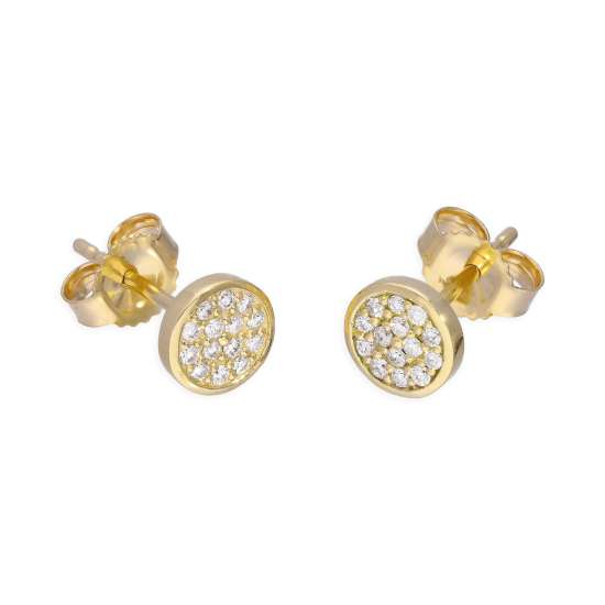 9ct Yellow Gold 0.112ct Diamond Round Pave Stud Earrings