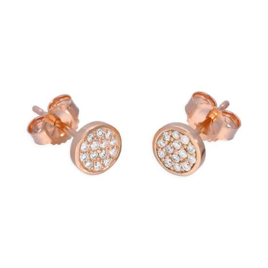 9ct Rose Gold 0.112ct Diamond Round Pave Stud Earrings