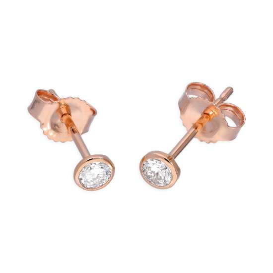 9ct Rose Gold 0.16ct Diamond Rub Over Set Round Solitaire Stud Earrings