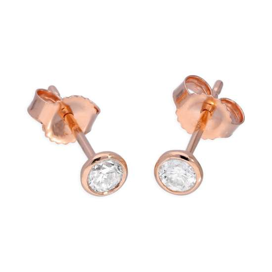 9ct Rose Gold 0.23ct Diamond Rub Over Set Round Solitaire Stud Earrings