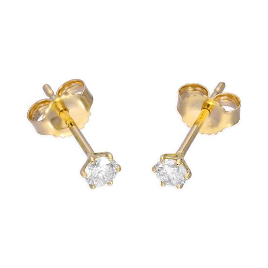 9ct Yellow Gold 0.23ct Diamond 6 Claw Set Round Solitaire Stud Earrings