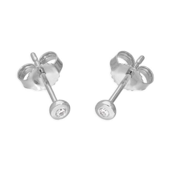 9ct White Gold 0.03ct Diamond Doughnut Round Solitaire Stud Earrings