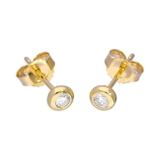 9ct Yellow Gold 0.09ct Diamond Doughnut Round Solitaire Stud Earrings