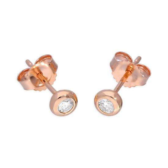 9ct Rose Gold 0.09ct Diamond Doughnut Round Solitaire Stud Earrings