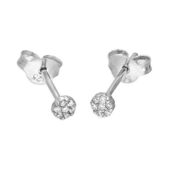 Sterling Silver 0.06ct Diamond Cluster Stud Earrings