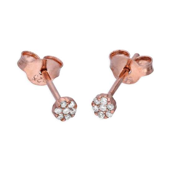 Rose Gold Plated Sterling Silver 0.06ct Diamond Cluster Stud Earrings