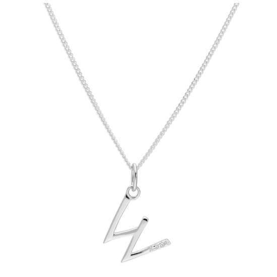 Sterling Silver 3 Stone Geniune Diamond 0.012ct Letter W Necklace Pendant 14 - 32 Inches