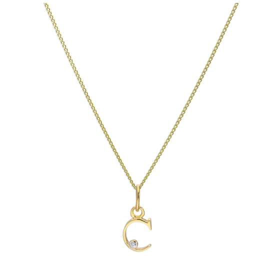 9ct Yellow Gold Single Stone Diamond 0.4 points Letter C Necklace Pendant 16 - 20 Inches