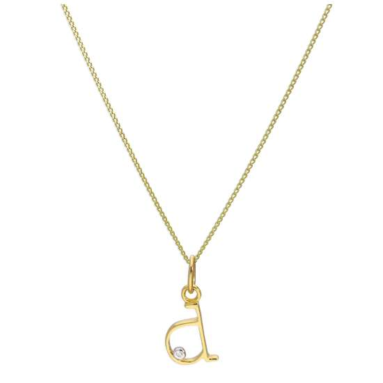 9ct Yellow Gold Single Stone Diamond 0.4 points Letter D Necklace Pendant 16 - 20 Inches