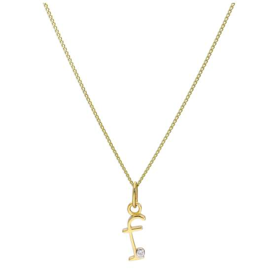 9ct Yellow Gold Single Stone Diamond 0.4 points Letter F Necklace Pendant 16 - 20 Inches