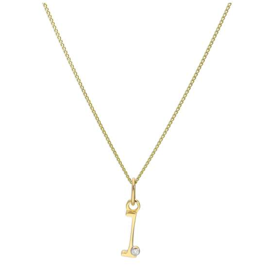 9ct Yellow Gold Single Stone Diamond 0.4 points Letter L Necklace Pendant 16 - 20 Inches