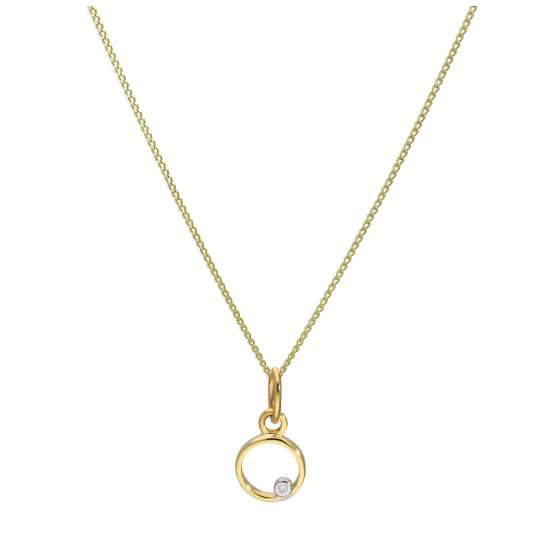 9ct Yellow Gold Single Stone Diamond 0.4 points Letter O Necklace Pendant 16 - 20 Inches
