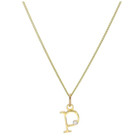 9ct Yellow Gold Single Stone Diamond 0.4 points Letter P Necklace Pendant 16 - 20 Inches