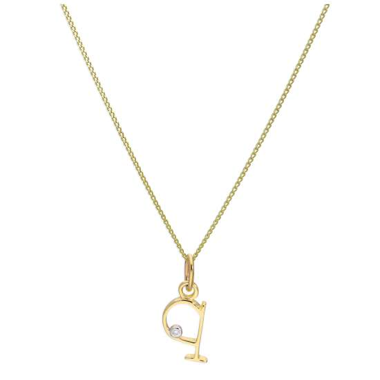 9ct Yellow Gold Single Stone Diamond 0.4 points Letter Q Necklace Pendant 16 - 20 Inches