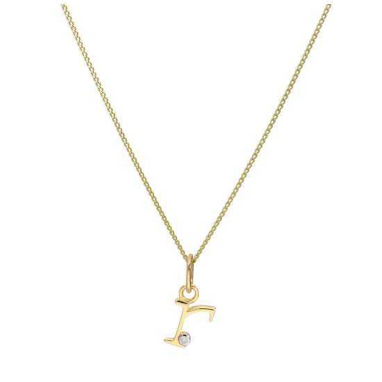 9ct Yellow Gold Single Stone Diamond 0.4 points Letter R Necklace Pendant 16 - 20 Inches