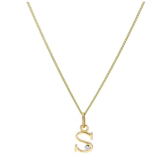 9ct Yellow Gold Single Stone Diamond 0.4 points Letter S Necklace Pendant 16 - 20 Inches
