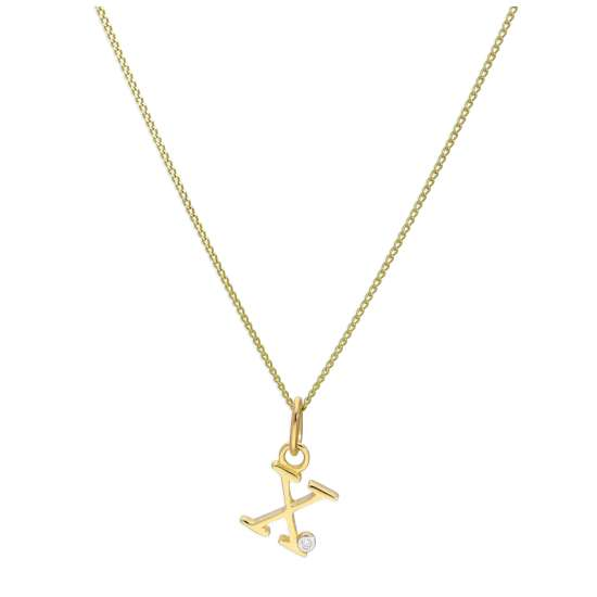 9ct Yellow Gold Single Stone Diamond 0.4 points Letter X Necklace Pendant 16 - 20 Inches