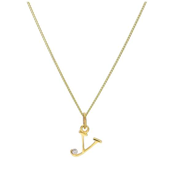 9ct Yellow Gold Single Stone Diamond 0.4 points Letter Y Necklace Pendant 16 - 20 Inches