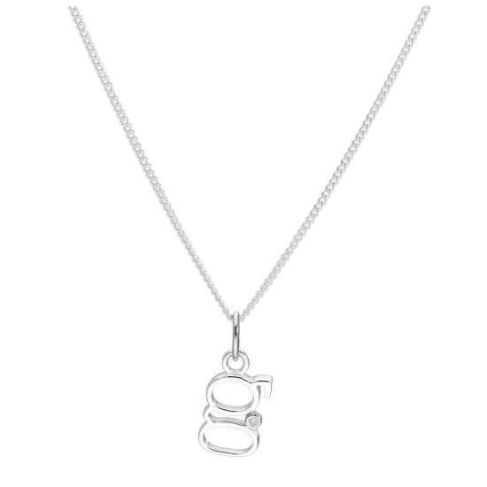 Sterling Silver Single Stone Diamond 0.4 points Letter G Necklace Pendant 14 - 32 Inches