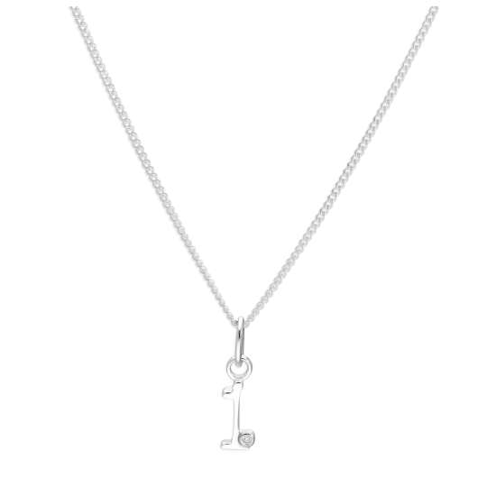 Sterling Silver Single Stone Diamond 0.4 points Letter I Necklace Pendant 14 - 32 Inches