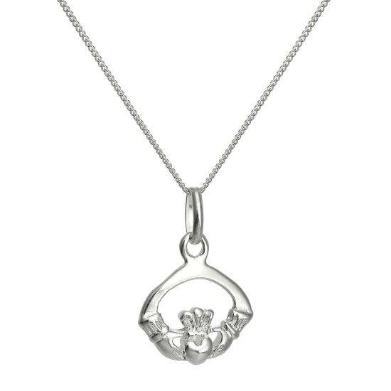 Sterling Silver Claddagh Pendant Necklace 16 - 22 Inches