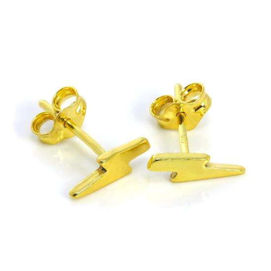 Gold Plated Sterling Silver Lightning Bolt Stud Earrings