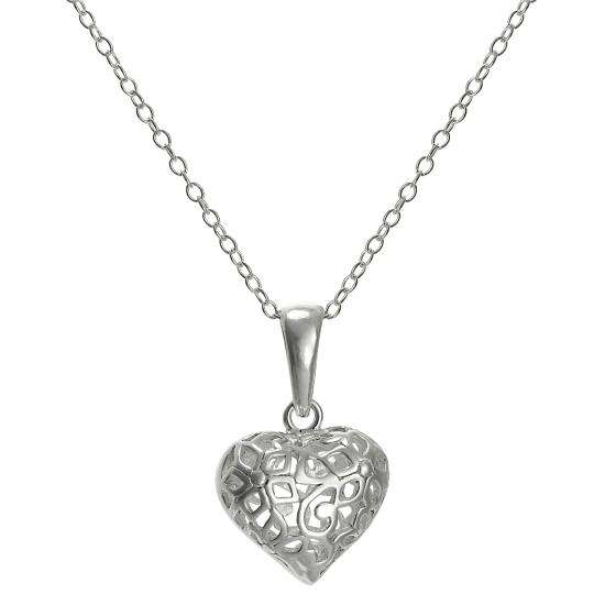 Sterling Silver Filigree Puffed Heart Pendant on 18 Inch Chain