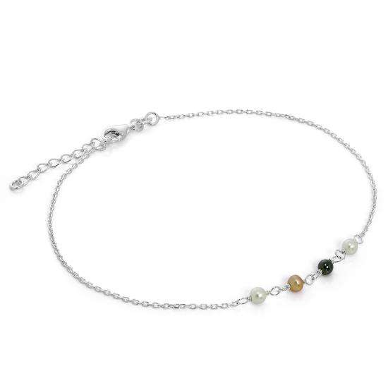 Sterling Silver & Pearl Anklet with Extender Chain