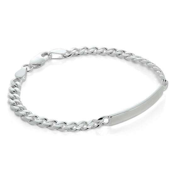 Sterling Silver Curb Chain 7 Inch Engravable ID Bracelet