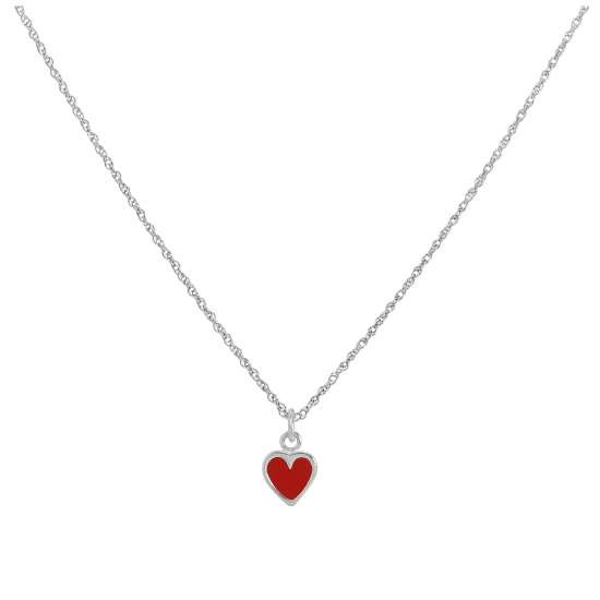 Sterling Silver & Red Enamel Heart Pendant Necklace 14 - 22 Inches