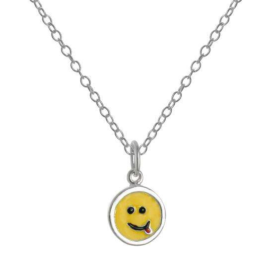 Sterling Silver & Yellow Enamel Smiley Face Tongue Pendant Necklace 14-22 Inches