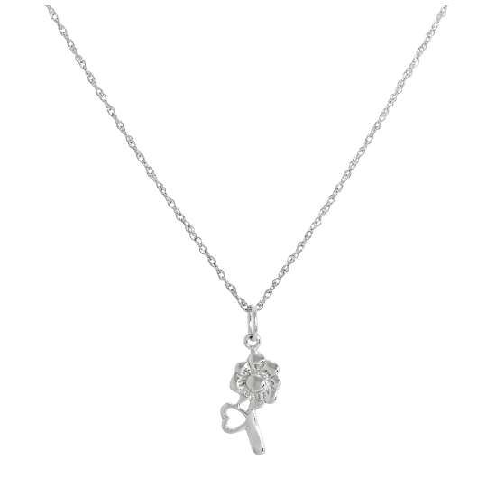 Sterling Silver Flower & Heart Pendant Necklace 14 - 22 Inches
