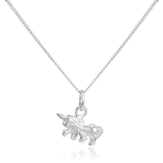 Tiny Sterling Silver Unicorn Pendant Necklace 16 - 22 Inches