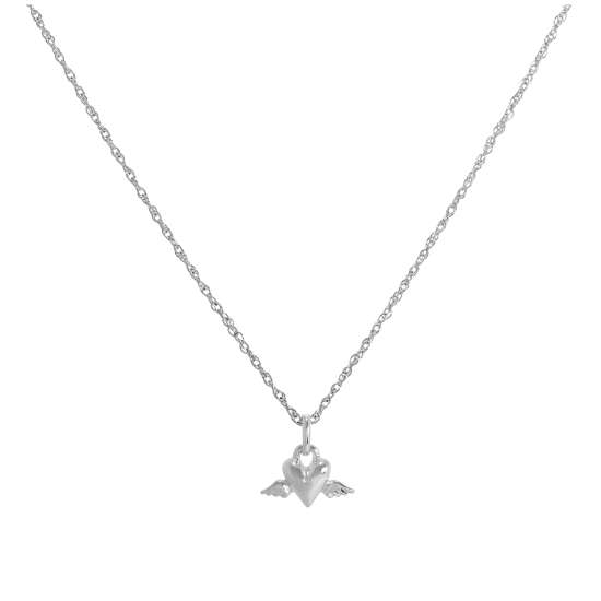 Sterling Silver Winged Heart Pendant Necklace 14 - 22 Inches