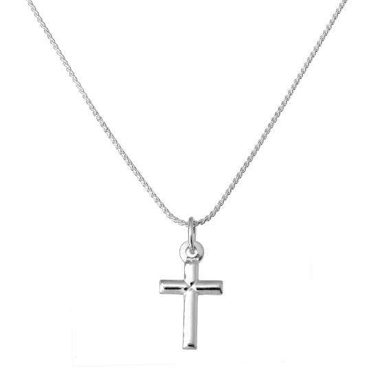 Small Plain Sterling Silver Cross Pendant Necklace 16 - 22 Inches