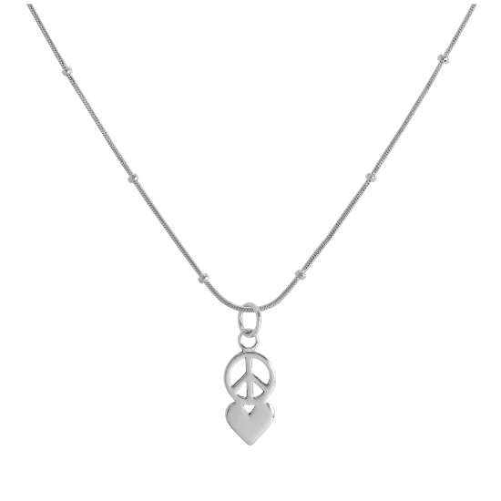 Sterling Silver Peace Symbol & Heart Pendant Necklace 16 - 24 Inches